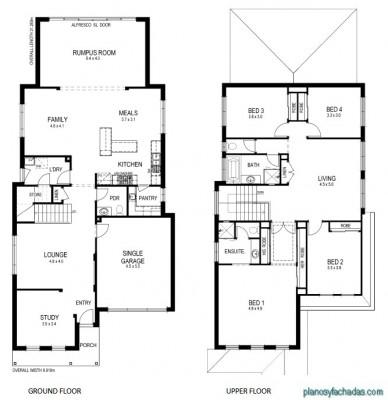 Planos de casas pequeñas de dos pisos (1)
