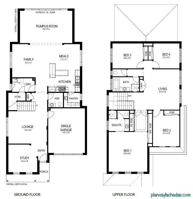 planos de casas pequeas de dos pisos