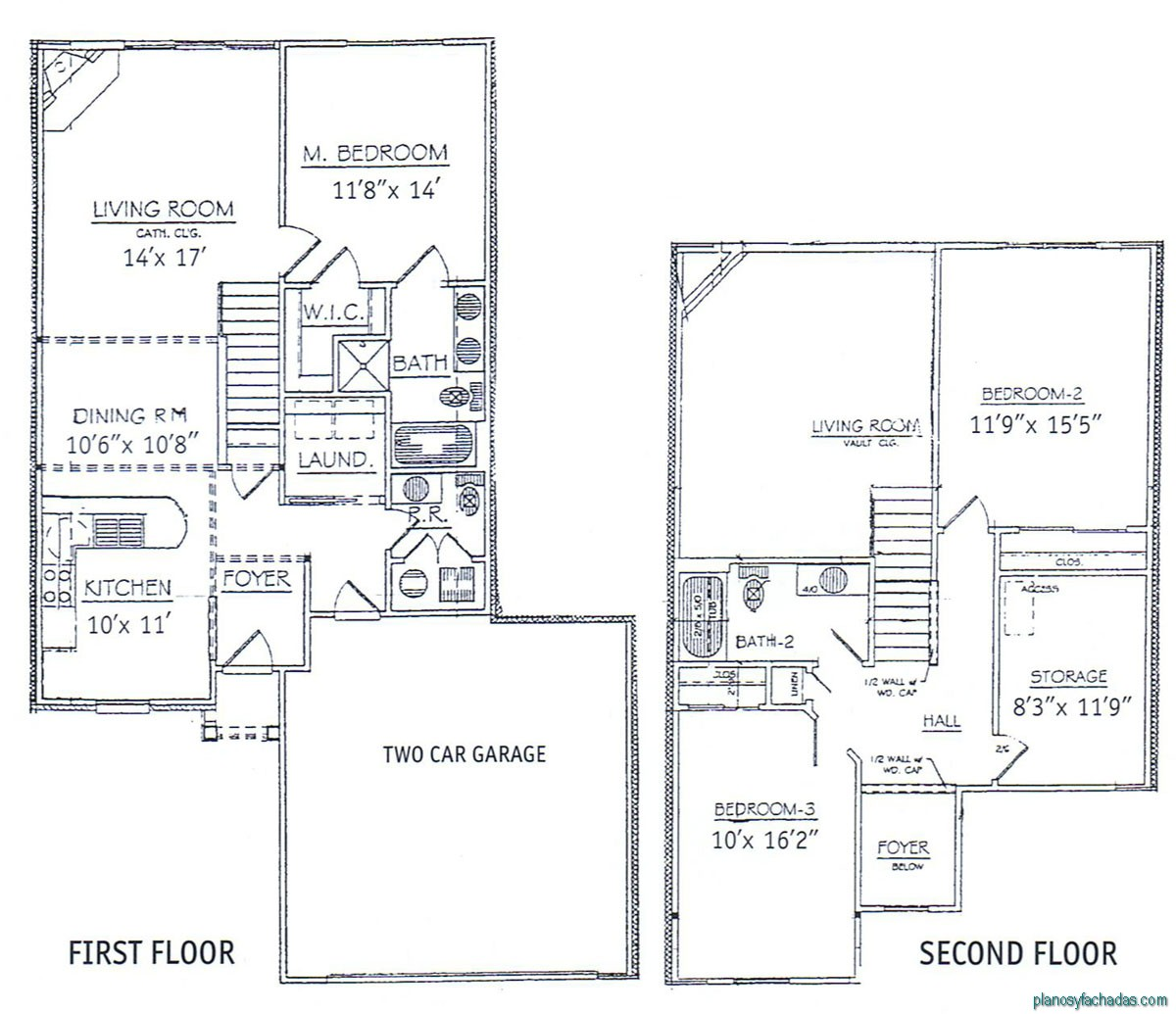 15 planos de casas peque as de dos pisos planos y for 3 bed 2 bath ranch floor plans