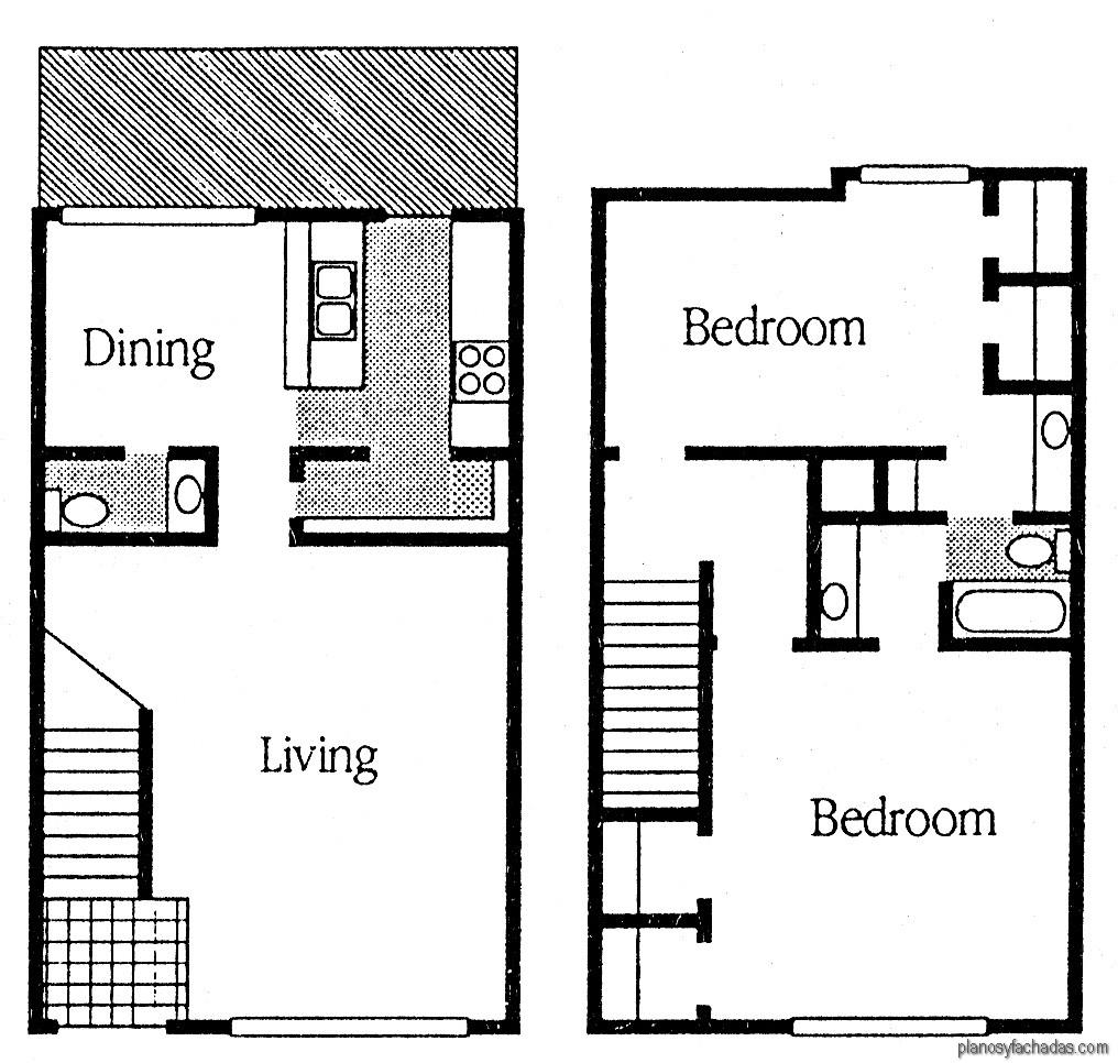 15 planos de casas peque as de dos pisos planos y for Cuarto 4x4 metros