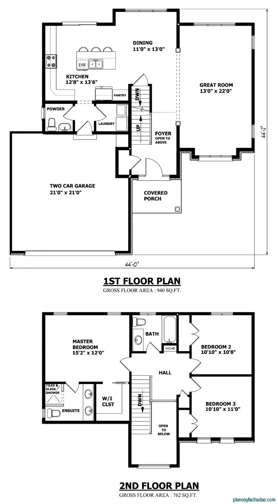 15 planos de casas peque as de dos pisos planos y for Small two story house plans with garage