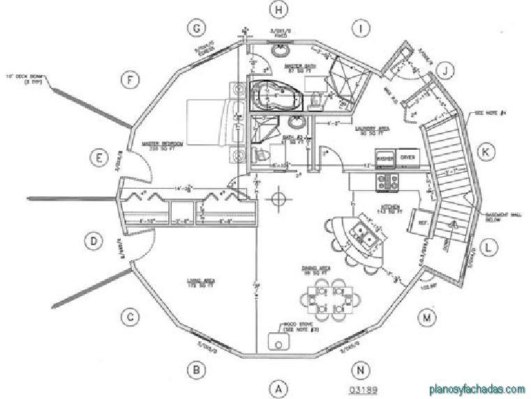 19 planos de casas circulares planos y fachadas todo for Ejes arquitectonicos