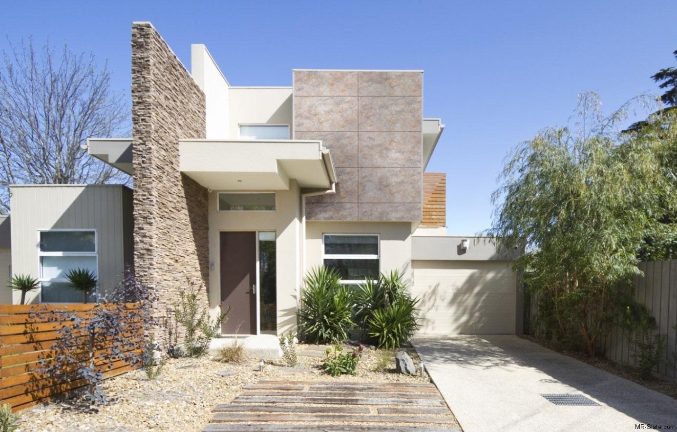16 fachadas de casas con piedras planos y fachadas for Fotos de jardines de casas modernas