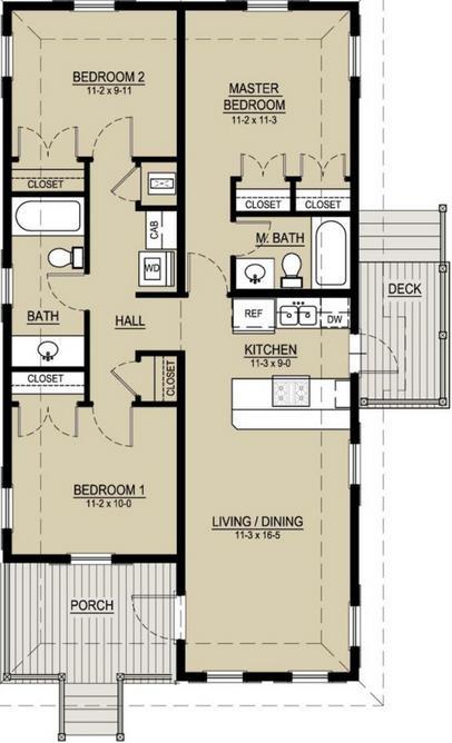 19 planos de casas 3 dormitorios planos y fachadas - Distribucion casa alargada ...