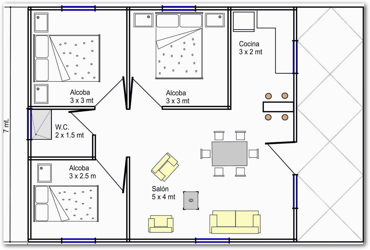 19 planos de casas 3 dormitorios planos y fachadas for Como hacer un plano de una cocina