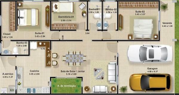 planos de casas 3 dormitorios13