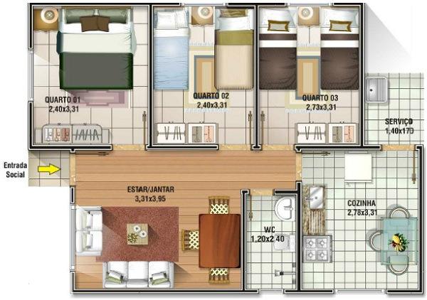 19 planos de casas 3 dormitorios planos y fachadas todo for Casa moderna 3 habitaciones