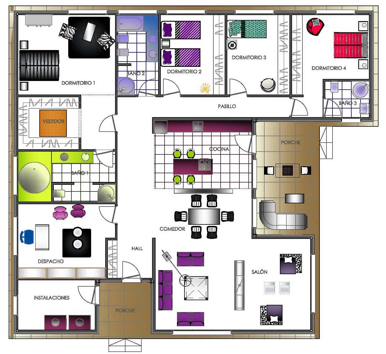 10 planos de casas de una planta para descargar for Plano casa minimalista 3 dormitorios