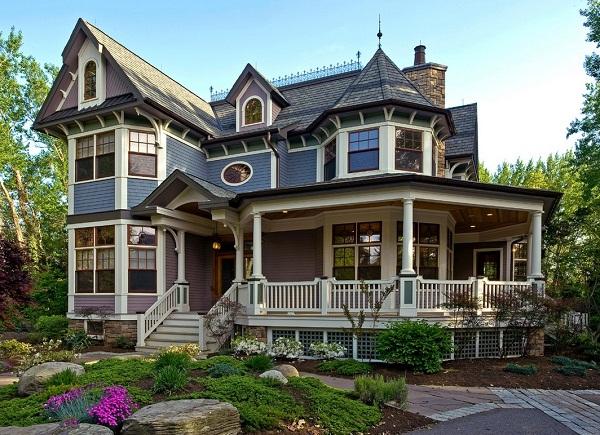casa colonial americana fachada y jardn