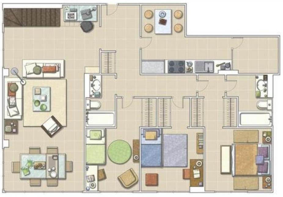 9 planos de departamentos grandes planos y fachadas for Planos de cocinas grandes