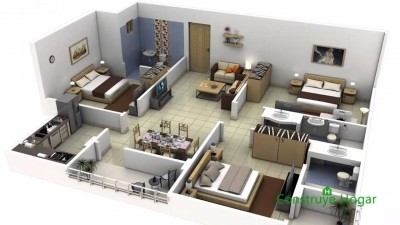 plano apartamento grande 3d