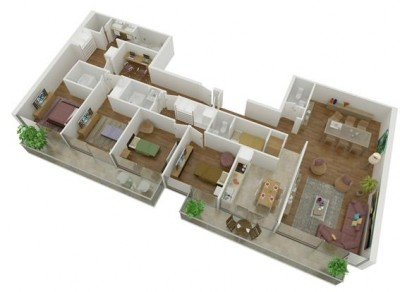 plano departamento muchas habitaciones
