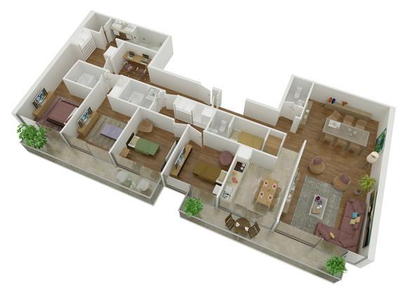 9 planos de departamentos grandes planos y fachadas todo for Diseno de apartamento rectangular