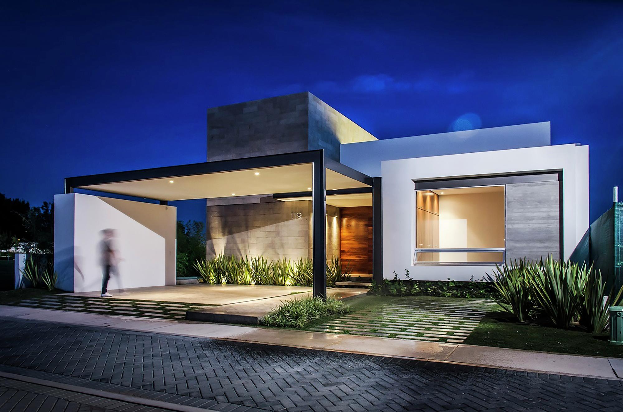 Fachadas de casas modernas de un piso planos y fachadas for Planos de casas pequenas de una planta