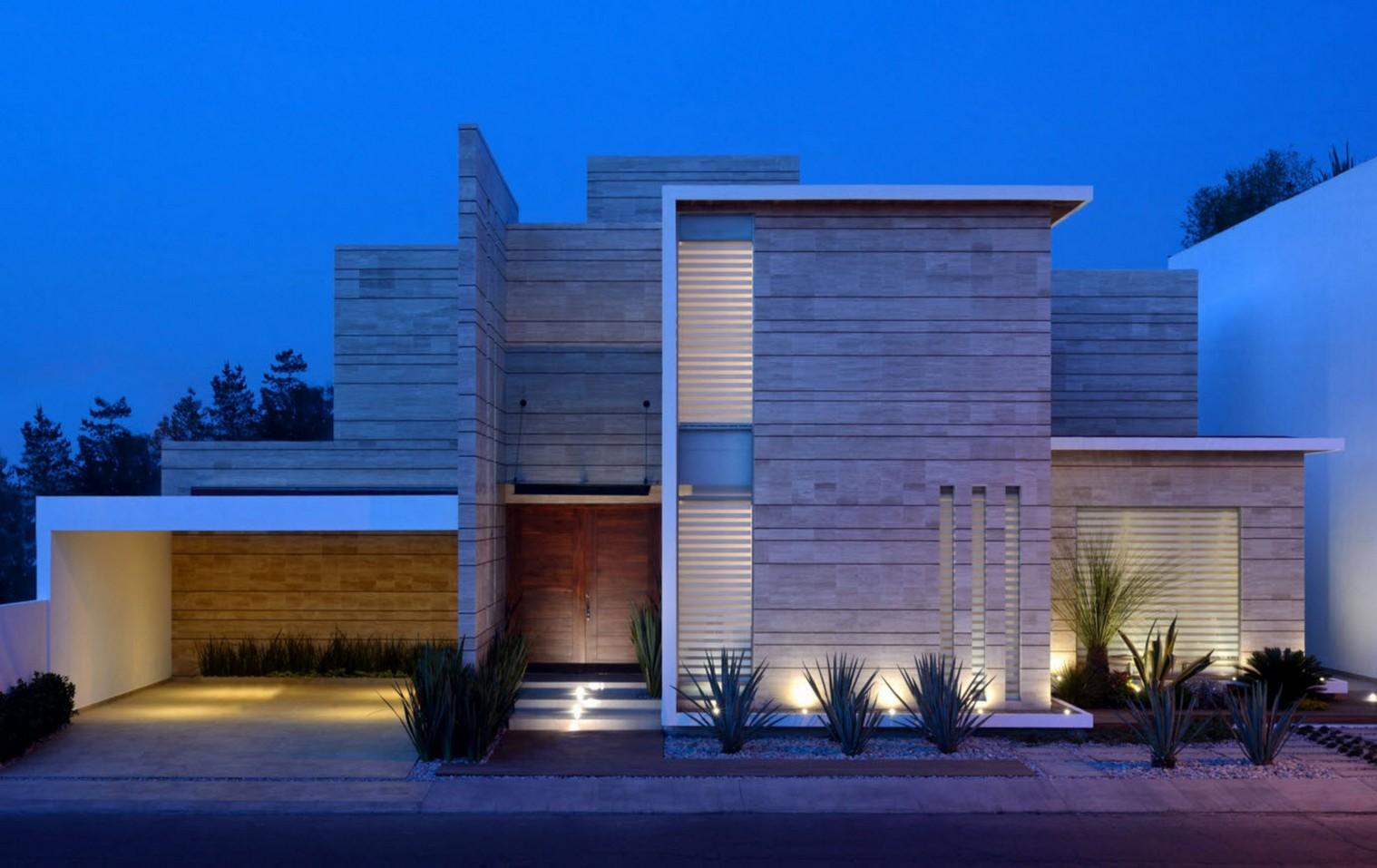 Fachadas de casas modernas de un piso planos y fachadas for Fachadas modernas para casas de tres pisos