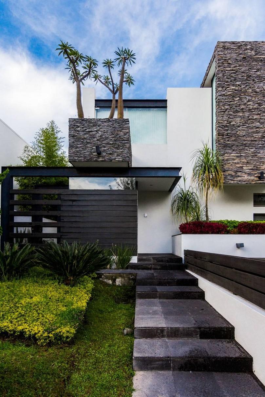 Im genes y fotograf as de fachadas con cantera planos y for Construcciones minimalistas