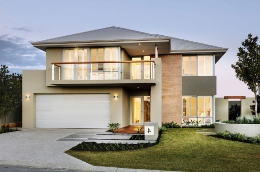 fachadas de casas de dos pisos con balcon