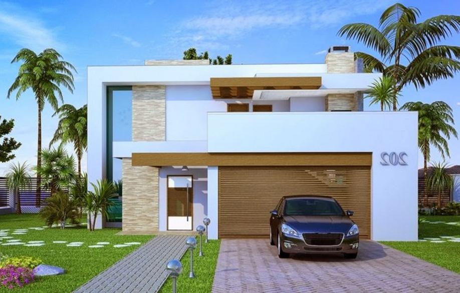 fachadas de casas modernas de dos pisos planos y