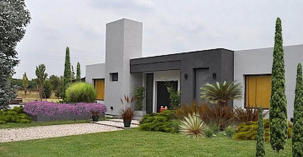 35 fachadas de casas de una planta modernas y vistosas for Fachadas de jardines para casas