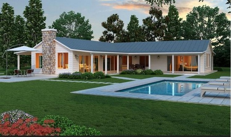 35 fachadas de casas de una planta modernas y vistosas for Distribucion de una casa de una planta