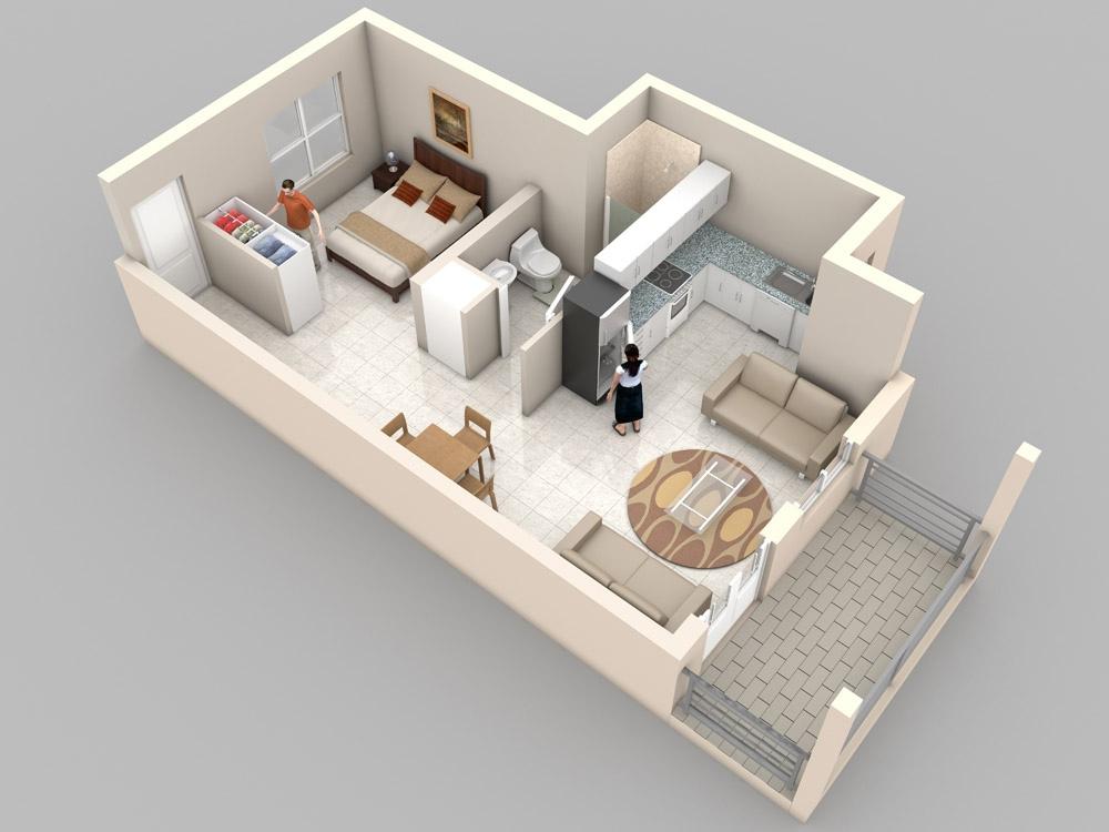 Planos de departamentos peque os planos y fachadas for Modelos de departamentos pequenos para construir