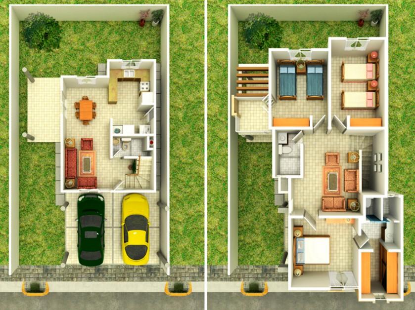 Planos de casas modernas de dos plantas planos y for Planos y fachadas de casas pequenas de dos plantas