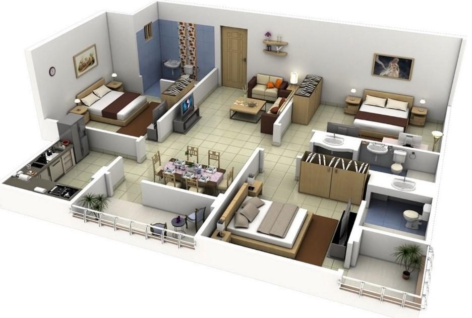 planos de casas de dos pisos con tres dormitorios en 3d