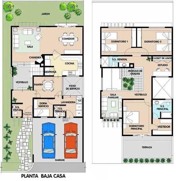 Planos de casas modernas de dos plantas planos y for Planos de viviendas modernas