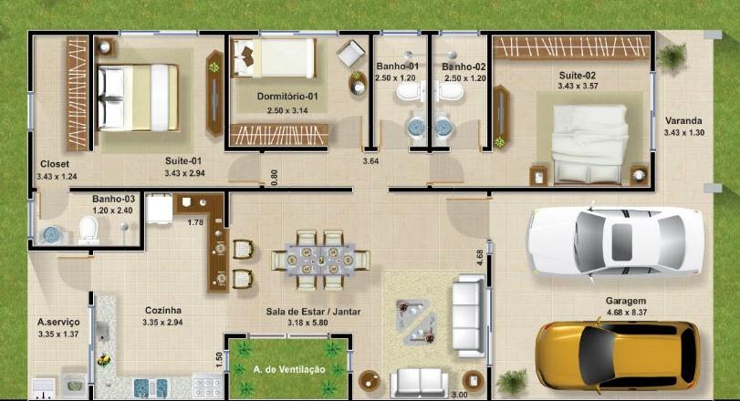 planos de casas modernas de 3 dormitorios planos y