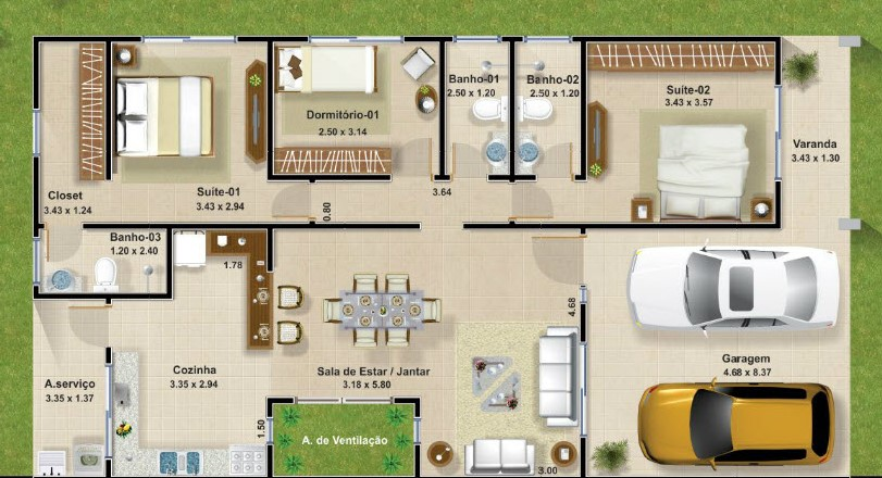 Planos de casas modernas de 3 dormitorios planos y for Plano de casa quinta moderna