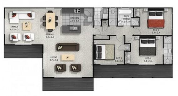 Planos de casas de un piso con 3 dormitorios planos y - Cuanto cuesta hacer una casa de dos plantas ...