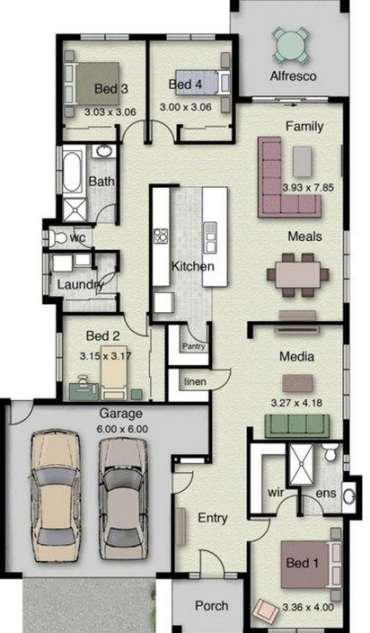 Planos de casas de un piso con 3 dormitorios planos y for Planos de casas de un piso 3 dormitorios