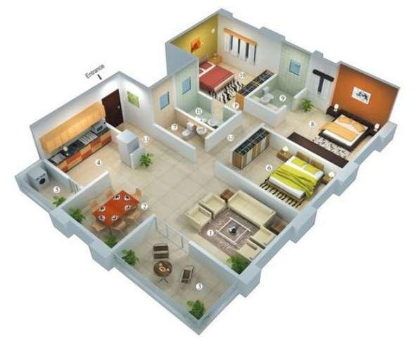 planos de casas modernas de 3 dormitorios en 3d