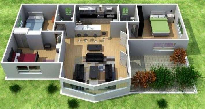 Planos de casas modernas de 3 dormitorios planos y - Planos de casa en 3d ...