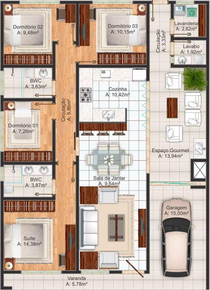 Planos de casas modernas de 3 dormitorios planos y for Diseno de habitacion principal pequena