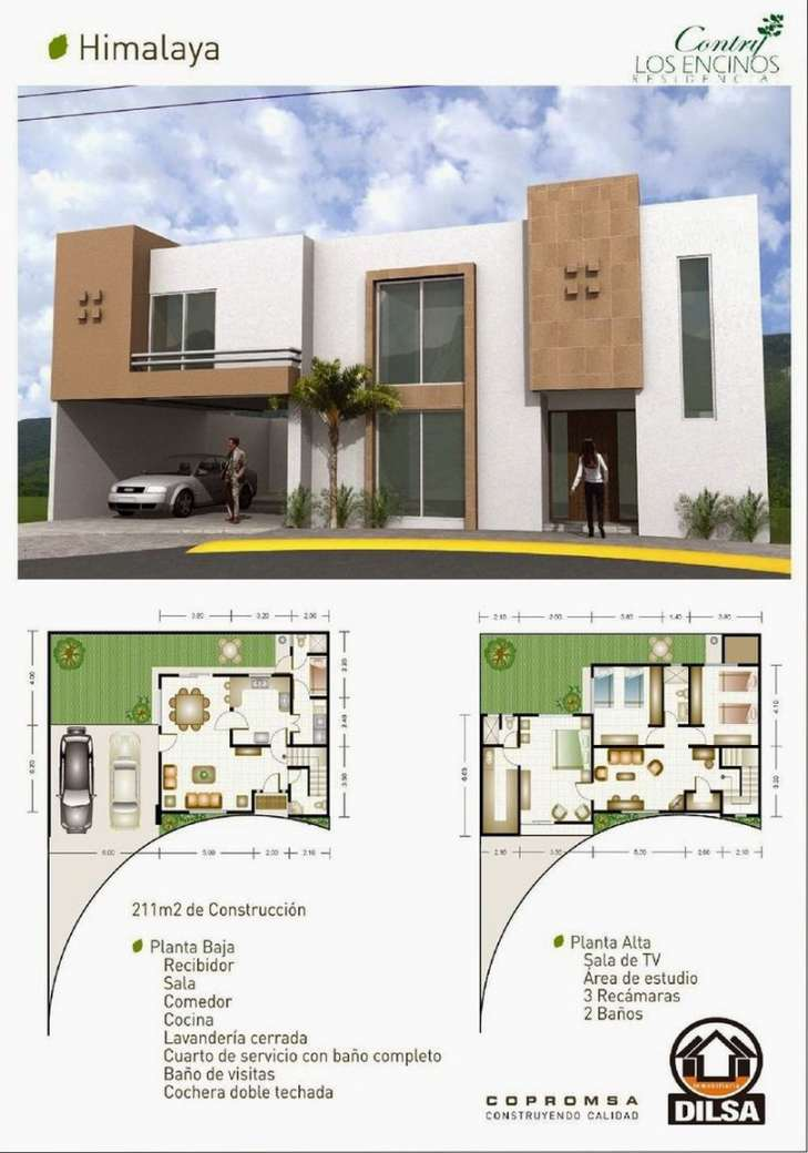 Planos de casas modernas de dos plantas planos y for Plantas arquitectonicas de casas