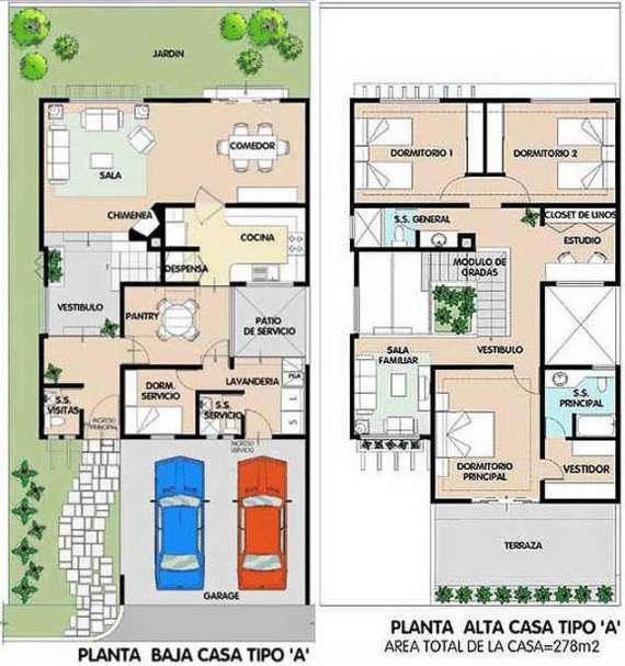 Planos de casas modernas de dos plantas planos y fachadas for Planta de casa de dos pisos
