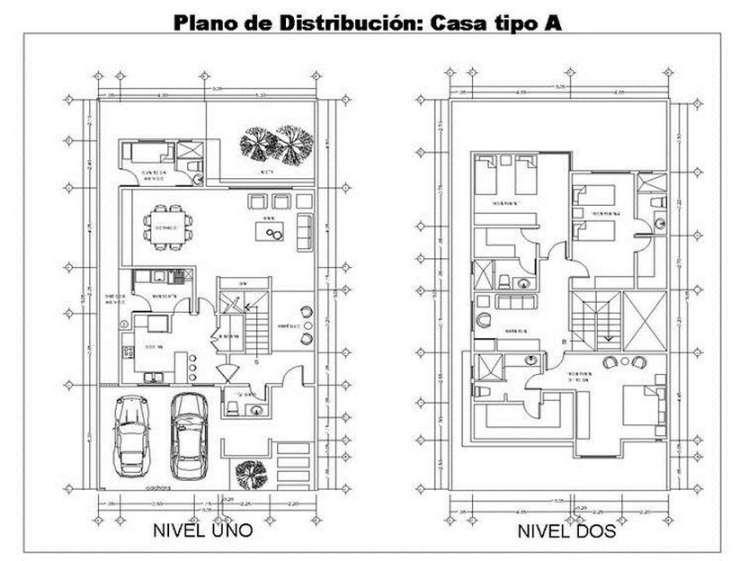 Planos de casas modernas de dos plantas planos y for Plantas de viviendas modernas