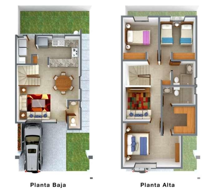 Planos de casas modernas de dos plantas planos y fachadas for Planos de casas pequenas de una planta