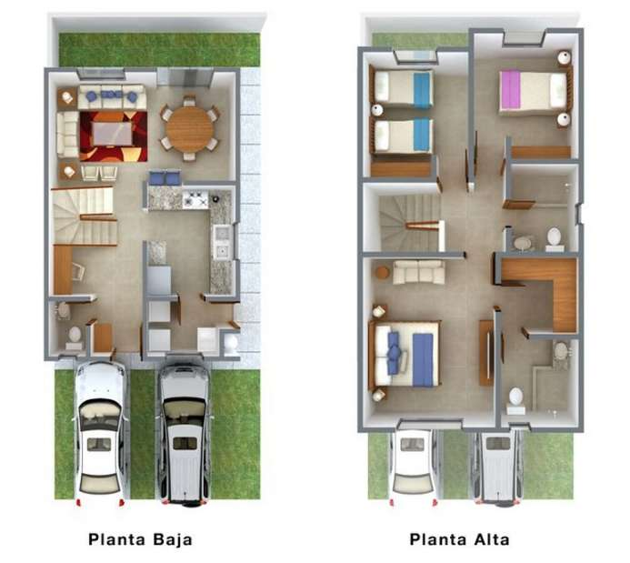 Planos de casas peque as de dos plantas planos y for Fachadas casas dos plantas