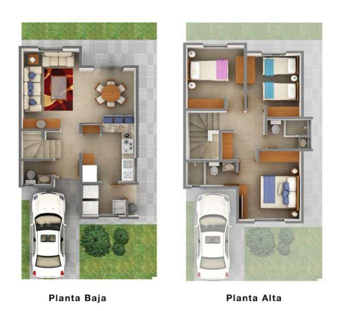 Planos de casas peque as de dos plantas planos y fachadas for Distribucion de una casa de una planta