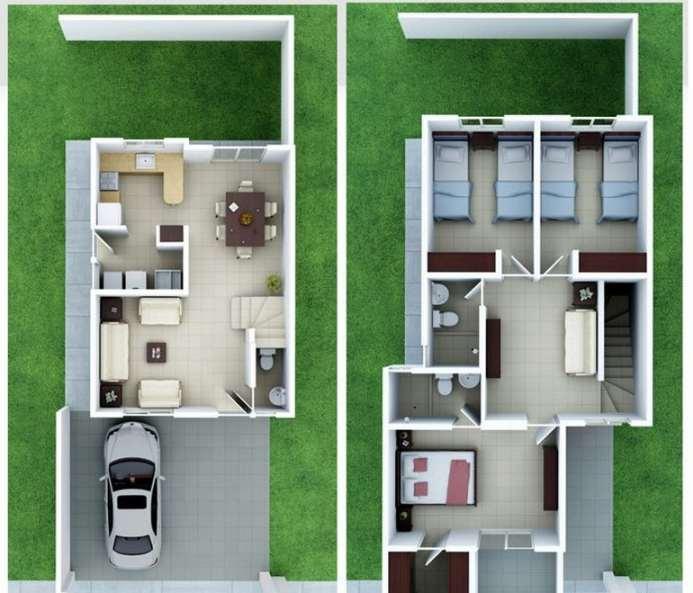Planos de casas peque as de dos plantas planos y fachadas for Casa minimalista 2 plantas