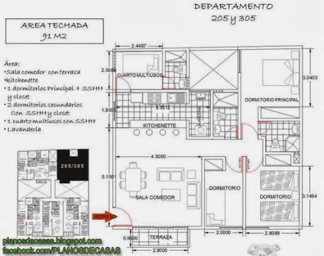 Planos de departamentos peque os planos y fachadas for Planos de departamentos 3 dormitorios