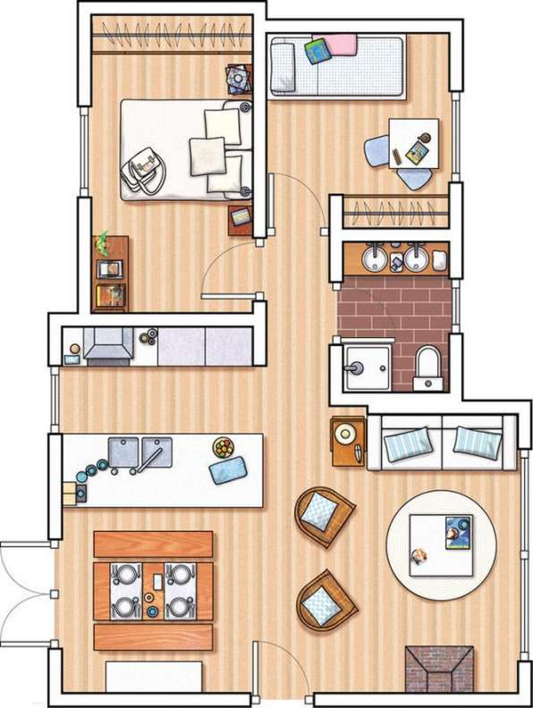 Planos de departamentos peque os planos y fachadas for Alquiler de cuartos o minidepartamentos