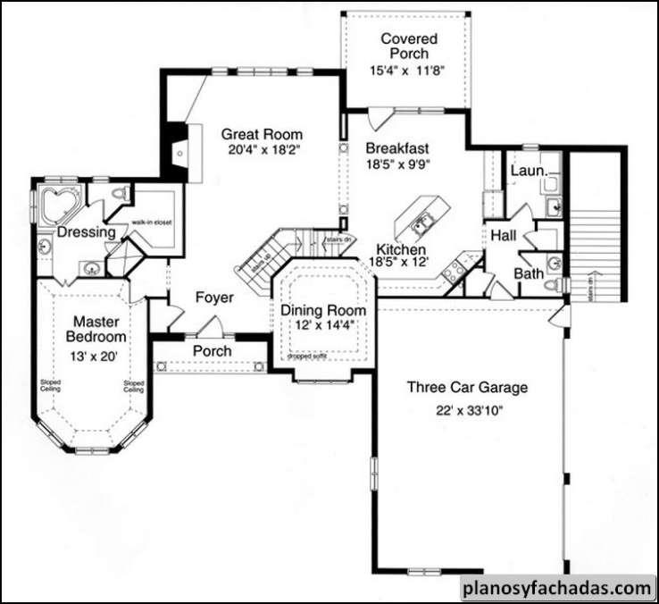 Plano de casa 9296 el exterior de ladrillo y piedra con - Planos de casas de piedra ...