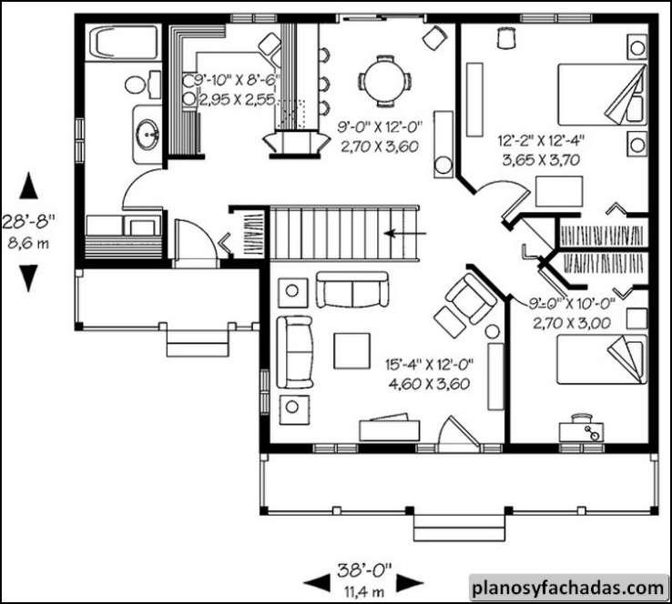 plano de casa 1256 con un porche de adelante de exhibic
