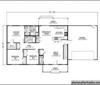 Plano de casa 2966 – Con patios cubiertos enfrente y detr…