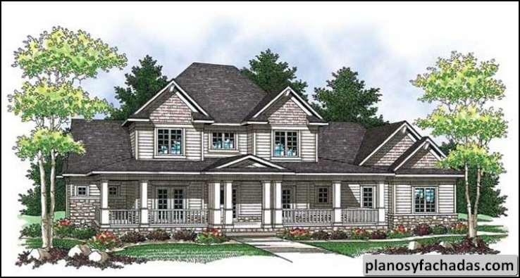 Plano de casa 8125 un enorme porche envolvente atrae su planos y fachadas todo para el - Casas americanas con porche ...