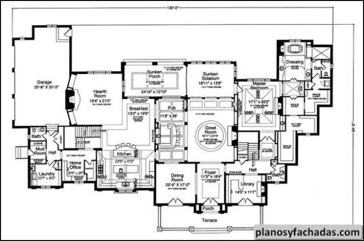 Plano de casa 9361 esta espectacular casa de ladrillo for Planos para cocina de lena