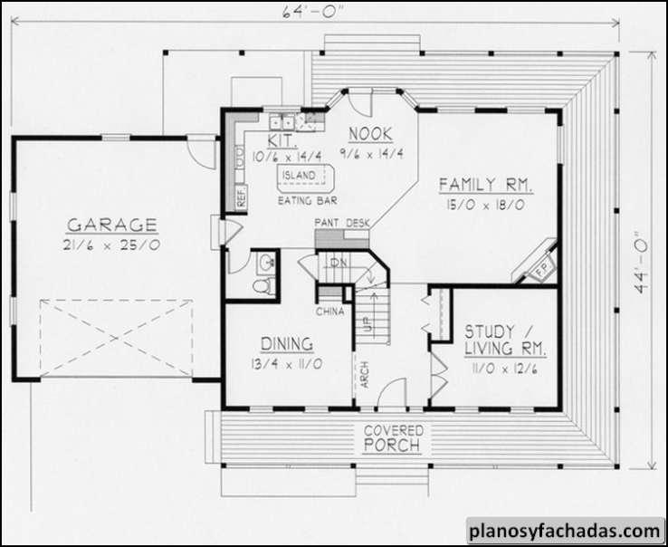 Plano De Casa 4549 Un Porche Cubierto Envolvente Crea U